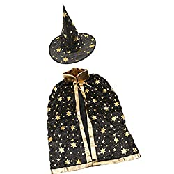 Halloween Kids Deluxe Gold Stamping Star Witches Costume Cloak Elf Cape - black