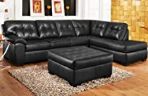 Big Sale Roundhill Furniture Addiya 3-Piece Bonded Leather Sectional Sofa with Chaise and Ottoman Set, Black