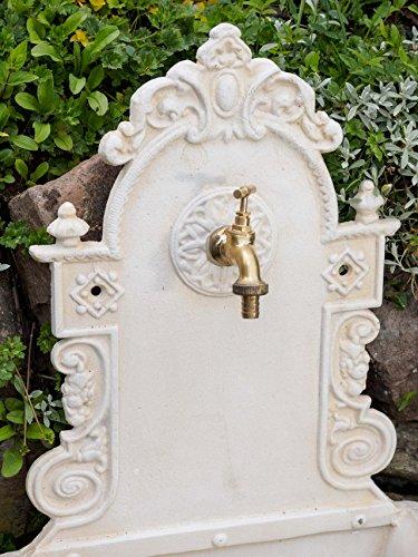 Fontaine murale de jardin avec vasque - style antique - crème/blanc