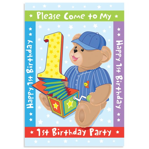 Boy's First Birthday Invitations - 8 Count