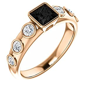 18K Rose Gold Princess Cut Black Diamond Engagement Ring - 1.35 Ct.