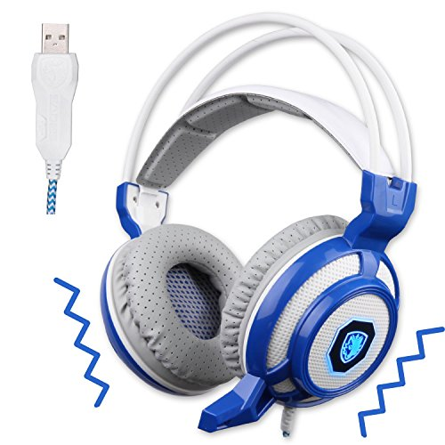SADES Vibration Mode USB Gaming Headset Headphones With Microphone LED Lights For PC Mac PS4 (Blue And White)