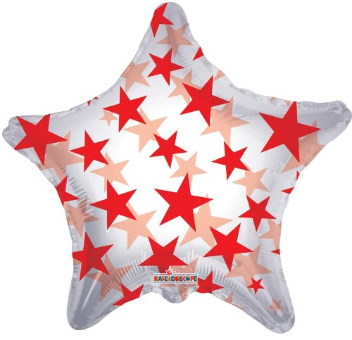 "22"""" Red Pattern Star Clear View Balloon"