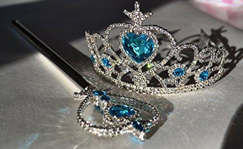 Ice Princess Frozen Snow Silver Plated Elsa Tiara Crown & Wand