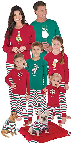 PajamaGram Red and Green Holiday Stripe Matching Family Pajama Set (Matching Dog And Owner compare prices)