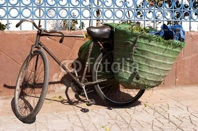 "Wallmonkeys Peel and Stick Wall Decals - Old Bicycle Leaning against Wall with Panniers on - 24""W x 16""H Removable Graphic"