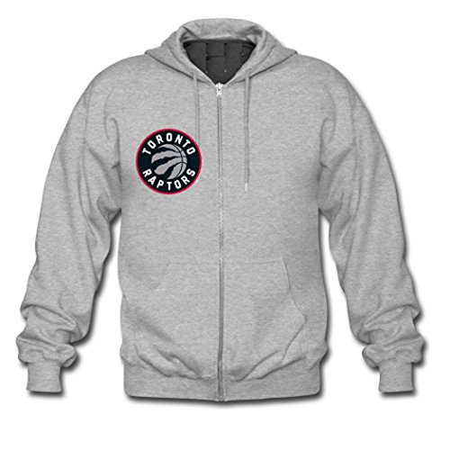 Custom Men Toronto Raptors Team Logo Logo Hoodies Zip Up Jacket XLarge Grey