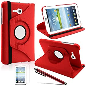 LK Luxury 360 Rotating PU Leather Case Cover For Samsung Galaxy Tab 3 Lite 7.0 T110 / T111 & Free Screen Protector + Stylus Pen (Red)