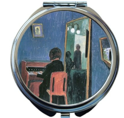 Rikki Knighttm Walter Gramatte Art Girl At The Keyboards Design Round Compact Mirror