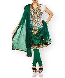 Unnati Silks Women Semi stitched grey-green tussar silk salwar kameez dress material