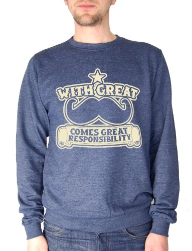 Balcony Shirts 'With Great Moustache Comes Great Responsibility' Mens Sweatshirt - Navy - XL