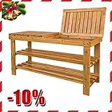 SoBuy 100% Bamboo Shoe Rack, Bench, Display Racks, Seat with Sorage Draw On Top,Size: 35.4×11.4×17.7 inch,FSR10-L-N