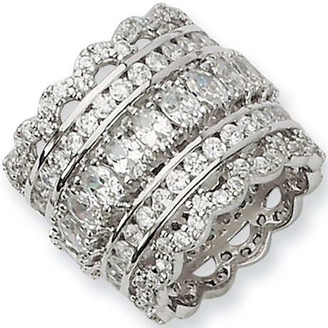 Size 6 - Sterling Silver Cubic Zirconia Eternity Ring by Cheryl M