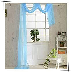 New 82*550cm Romantic Pure Color Voile Drapery Door Window Curtain for Living Room Wedding Banquet Decoration Blue