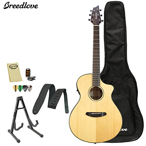 Breedlove Discovery Concert Ce Acoustic Electric Guitar With Chromacast Strap, Stand, Picks, Tuner, Godpsmusic Polish Cloth, And Breedlove Gig Bag