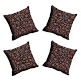 MeSleep Digitally Printed Abstract Micro Fabric 4 Piece Cushion Cover Set - Black