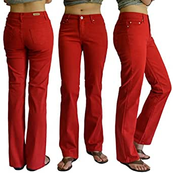WOMENS RED COLOR DENIM STRETCH JEANS SIZE:1