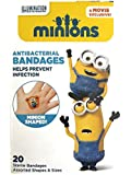 Adorable Despicable Me Shaped Adhesive Bandages (20 ct) For Kids Featuring Minions | Latex Free, Individually Wrapped With Protective Antibacterial Pad | Assorted Fun Prints | Made In The USA