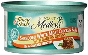 Fancy Feast Gourmet Cat Food, Shredded Chicken Fare in Broth with Garden Greens, 3-Ounce Cans (Pack of 24)