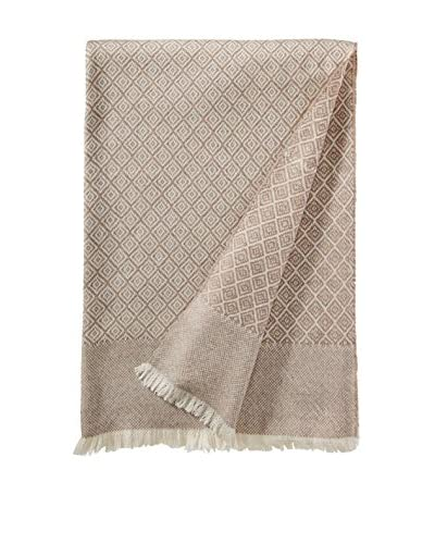 a & R Cashmere Wool & Cashmere Designer Diamond Throw, Creme/Sand