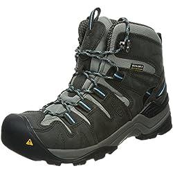 KEEN Women's Gypsum Mid Waterproof Hiking Boot, Raven/Alaskan Blue