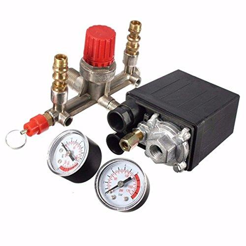 GOCHANGE 1Pcs Pressure Switch Control with 2Pcs Valve Press Gauges, 125PSI 1 Port 230V - Heavy Duty 16 Amp - for Air Compressor Pump (Air Compressor T Valve compare prices)