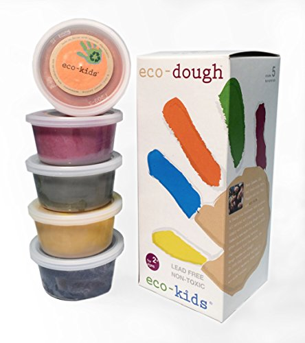 Eco Kids Natural Plant Dye Modeling Dough(Contains Gluten)- 4 oz tubs - Red, Blue, Yellow, Green and Orange - 5 ct(one tub of each color)