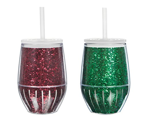 Set of 2 Stemless Acrylic Wine Glasses - 10 Oz. Double Wall Insulated Acrylic Stemless Wine Glass - Red Glitter and Green Glitter Design (Insulated Acrylic Glasses compare prices)