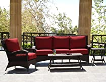 Big Sale Havana Brown Outdoor Patio Resin Wicker Sofa Lounge Chair 4 Piece Set With Sunbrella Fabric