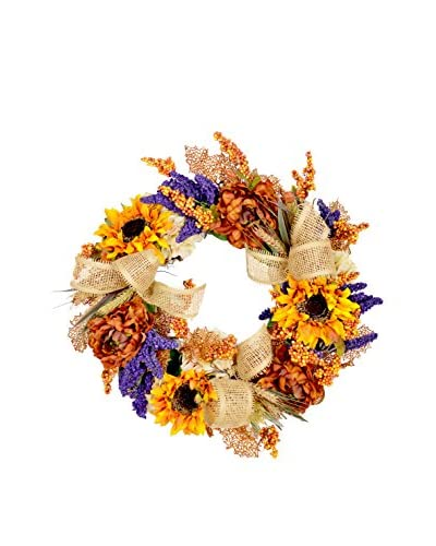 Creative Displays Sunflower and Berry Wreath, Orange/Blue/Crème