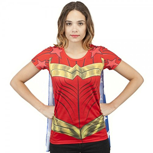 DC Comics Wonder Woman Sublimated Womens Caped T-Shirt