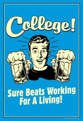 (13X19) College Sure Beats Working For Living Funny Retro Poster