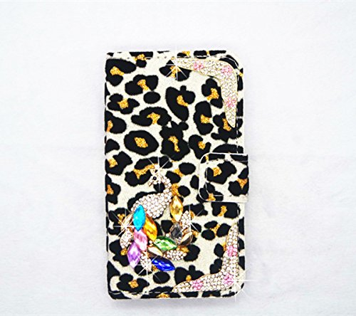 white Sexy Star Luxury Bling Crystal Diamond Leopard Wallet Purse PU Leather Magnetic Flip Wallet Case Cover For Samsung GALAXY S BLAZE 4G T769