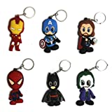 6 piece Rubber Keychain Set Avengers Batman Captain America Iron Man Thor Spiderman Joker Marvel (All 6 Characters)