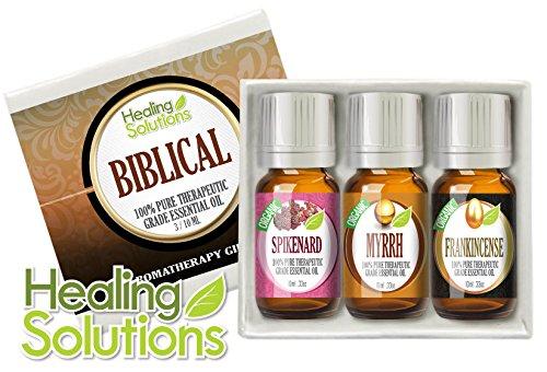 Biblical Set (Organic) 100% Pure, Best Therapeutic Grade Aromatherapy Essential Oil Gift Set - 3/10 Ml (Myrrh, Frankincense, Spikenard)