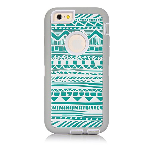 SGM 3316996 Dual Layer Protection High Impact Hybrid Armor Case for iPhone 6 - Grey + Turquoise (Tribal) (Dual Protection compare prices)