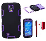 Topforcity Rugged Hybrid Rubber Shockproof Protective Case for Samsung Galaxy S4 IV i9500 with Screen Protector(black+purple) - Best Reviews Guide