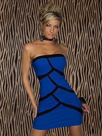 Amour-New Sexy Strips Black White Mini Dress Night Out Dress Clubwear (N098bl)