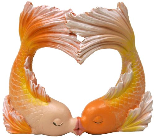 Exotic Environments Kissing Goldfish Heart Aquarium Ornament, 2 Large, 5-3/4 by 2-3/4-Inch by 5-Inch