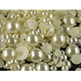 500pcs Cream White Assorted Mixed Sizes Flat Back Pearl Cabochon By Pixiheart