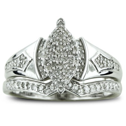 SuperJeweler 1/3ct Big Looking Marquise Shaped Center Diamond Engagement Ring Bridal Set in Sterling Silver