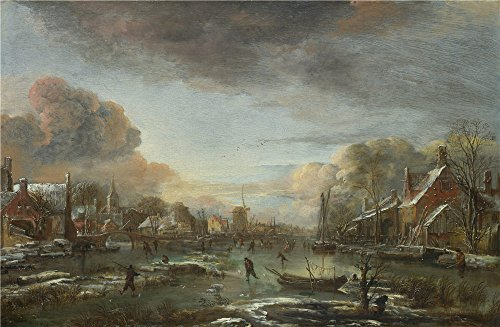 Oil Painting 'Aert Van Der Neer A Frozen River By A Town At Evening ' Printing On Polyster Canvas , 18 X 28 Inch / 46 X 70 Cm ,the Best Living Room Decor And Home Decoration And Gifts Is This Beautiful Art Decorative Prints On Canvas