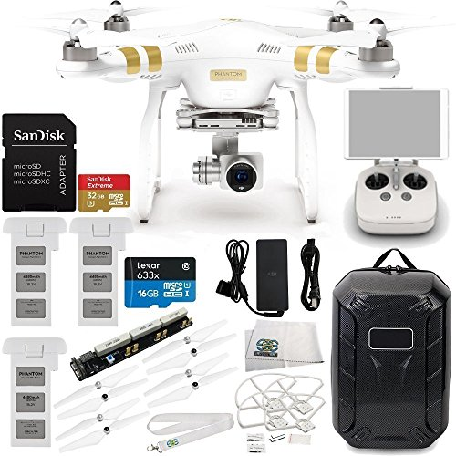 DJI Phantom 3 Professional Quadcopter w/ 4K Camera, 3-Axis Gimbal & Manufacturer Accessories + 2 Extra DJI Batteries + Water-Resistant Hardshell Backpack + Quick-Release Snap On/Off Prop Guards + MORE