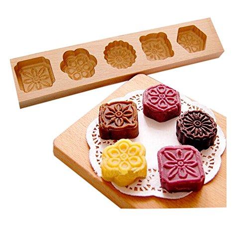 moules de cuisson de dessert/bois moules de cuisson, cinq fleurs(28.5*5.5*1.4cm)