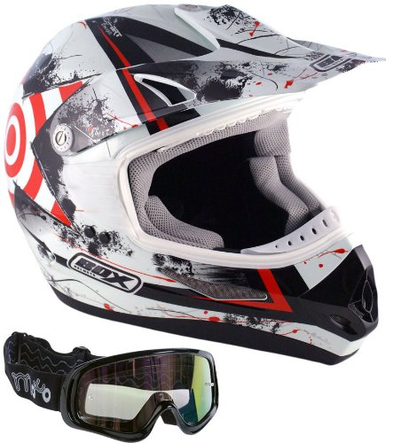 Box MX-5 Target Motorcycle Off Road Motocross Helmet Red (Red Goggles) L