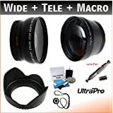 52mm Essential Lens Kit, Includes 2x Telephoto Lens + 0.45x HD Wide Angle Lens W/Macro + Flower Tulip Lens Hood...