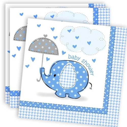 Elephant Baby Shower 16 Count Luncheon Napkins, Blue, White And Gray