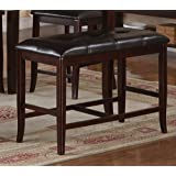 Counter Height Dining Bench in Deep Brown Finish