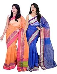 Banarasi Silk Works Hot Orange And Blue Super Net Cotton Embroidered Combo Saree