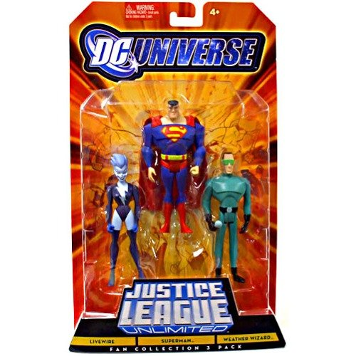 Buy Low Price Mattel DC Universe Justice League Unlimited Fan Collection Action Figure 3Pack Livewire, Superman Weather Wizard (B003KIKHLQ)